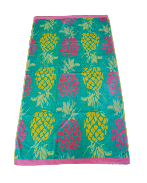 beach towel green pineapple
